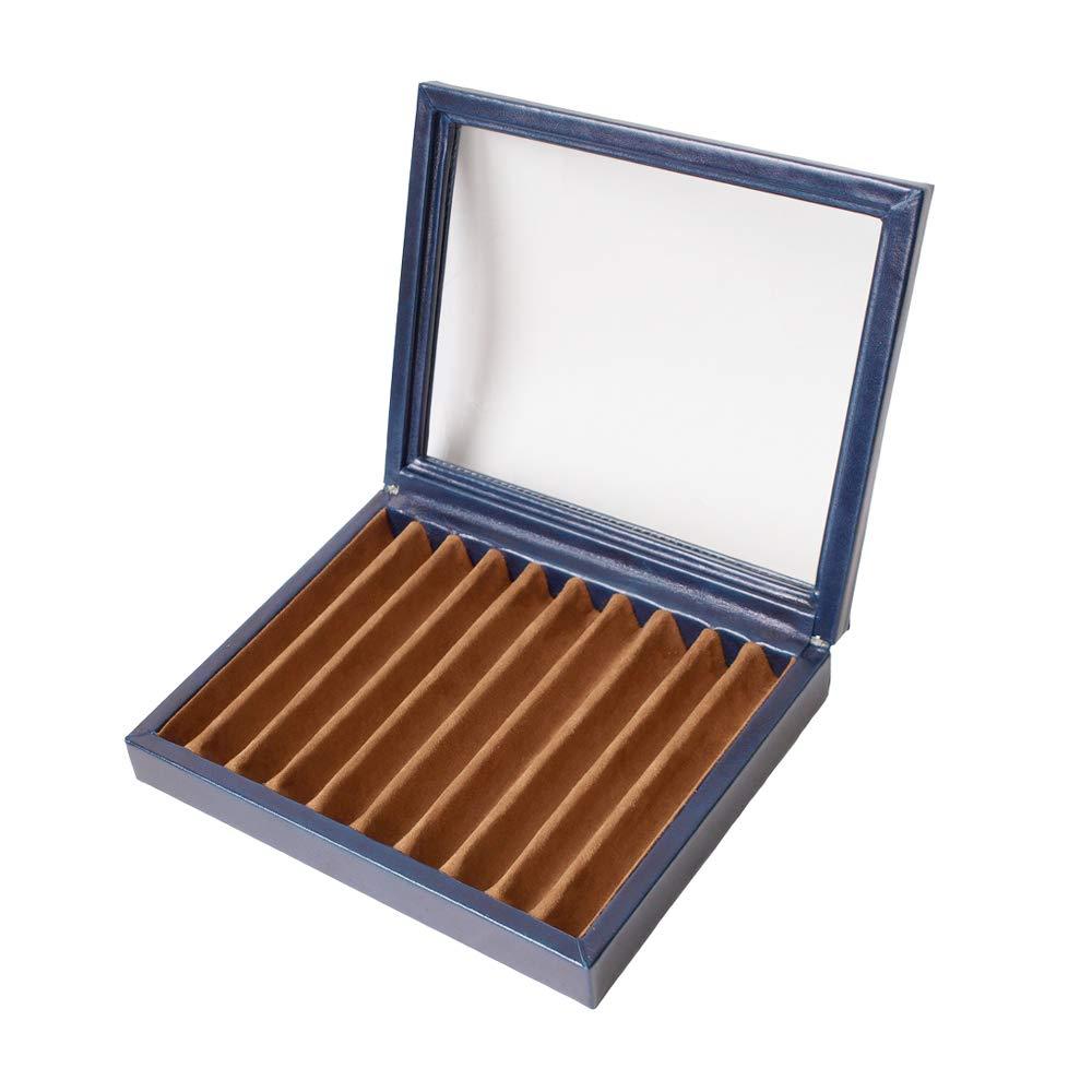 Caja para plumas azul marino abierta