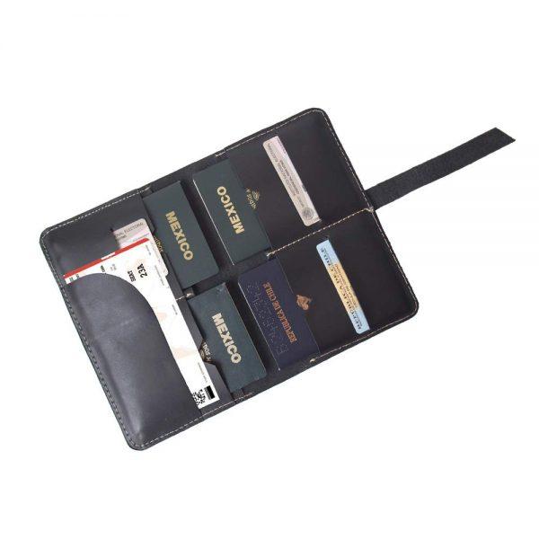 Porta pasaporte familiar negro